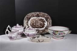 Three Piece Staffordshire Purple Transfer Tea Set