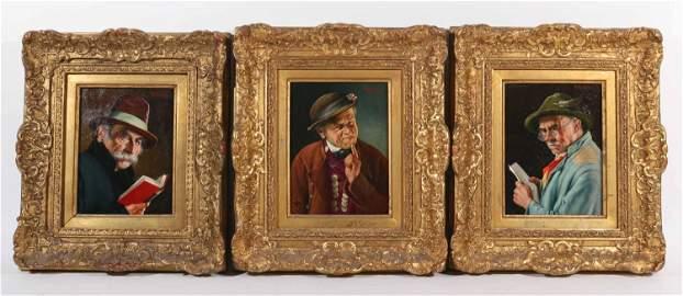 Franz Xavier Wolfle, Three Oils on Board of Men