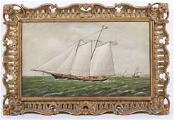 Oil on Canvas Maritime Scene of Clipper Ship