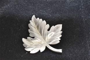 Tiffany & Co. Sterling Maple Leaf Brooch Pin