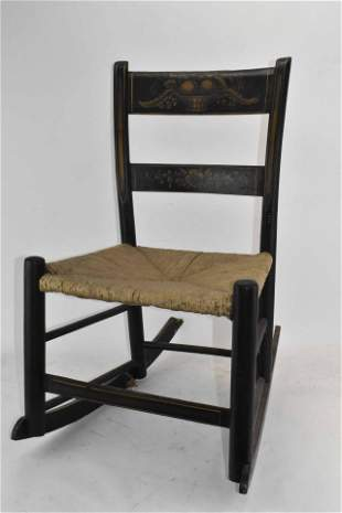 Small Black Painted and Stencil Decorated Rocker