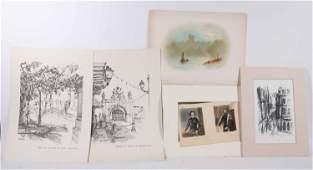 Five Unframed Works of Art