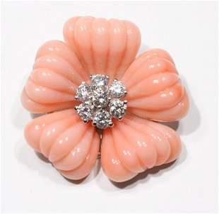 Angel Skin Coral and Diamond Slide Pendant