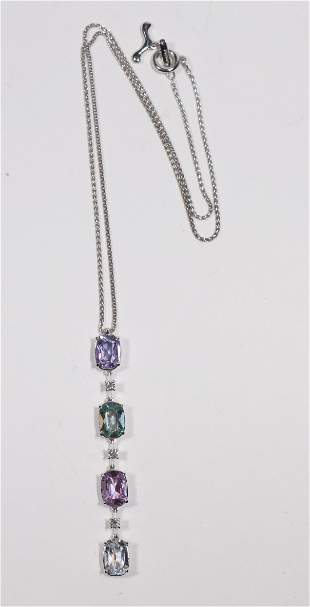 Antonini Colored Sapphire & Diamond Drop Pendant