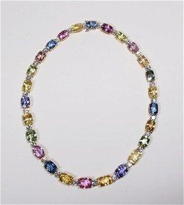 Bayco Multi-Colored Sapphire & Diamond Necklace