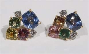 Pair of Multi-Colored Sapphire & Diamond Earrings