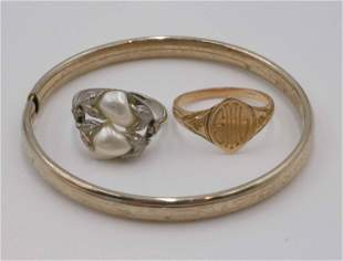 Blister Pearl Ring, 14K Ring, and Child's Bangle