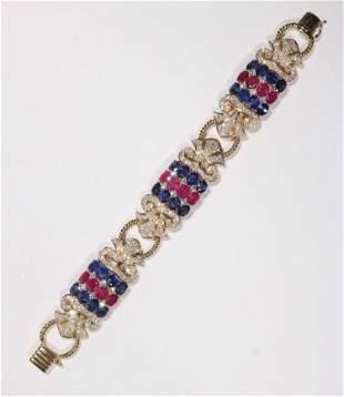 Chatila Ruby, Sapphire and Diamond Bracelet
