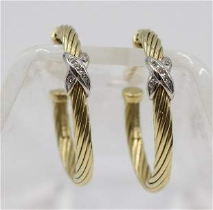 David Yurman Diamond Cable Hoop Earrings