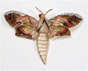 Diamond-Set Plique a Jour Moth Brooch