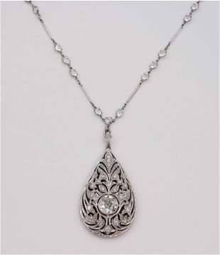 Edwardian Diamond and Platinum Filigree Lavaliere