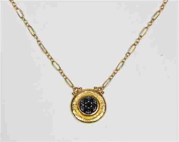 Gurhan Framed Black Diamond Pave Disc Necklace