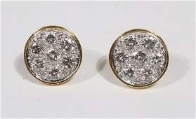Pair of David Webb Diamond Disc Earrings