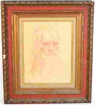 M Gelman Red Pencil Drawing of a Bearded Man