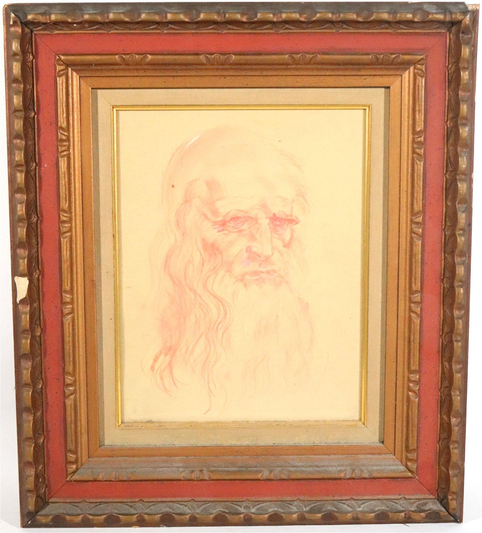 M. Gelman, Red Pencil Drawing of a Bearded Man