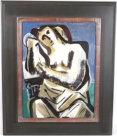 "Vaclav Vytlacil, Oil on Board, ""Contemplation"""
