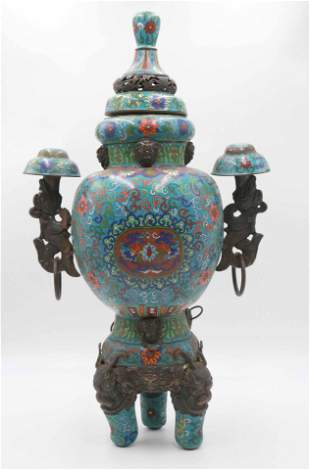 Chinese Cloisonne Covered Vase