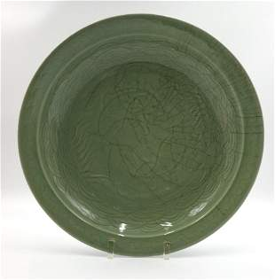 Chinese Ming Style FishDecorated Celadon Charger