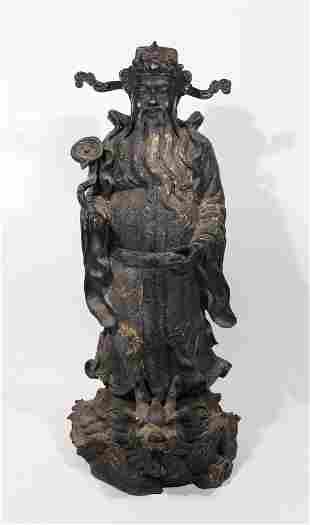 Chinese Patinated Metal Sculpture of Man Dragon