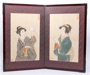 Japanese Double Panel Watercolor of Geishas