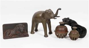 Two Indian Enameled Brass Elephant Bells