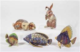 Five Jay Strongwater Rabbit and Fish Figurines