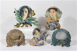 Five Jay Strongwater Round Figural Picture Frames