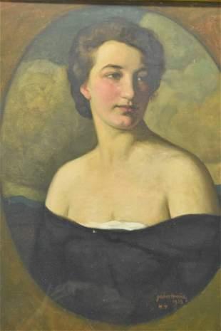 Moric Gabor Oil on Canvas Portrait of Woman