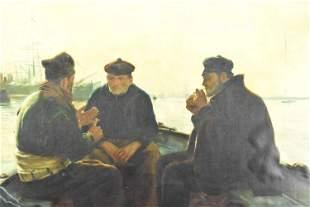 Antique Oil on Canvas Harbor Scene