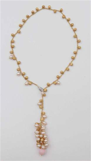 Marco Bicego 18 k Gold and Pearl Lariat Necklace