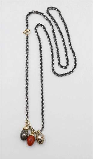 Pedro Boregaard 18K and Egg Charm Toggle Necklace