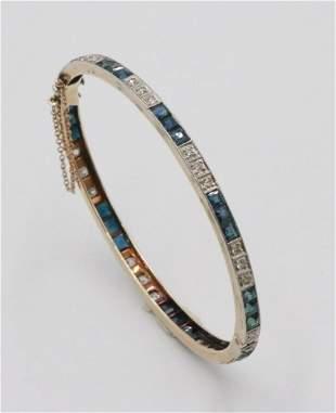 Yellow Gold Diamond and Sapphire Bangle Bracelet