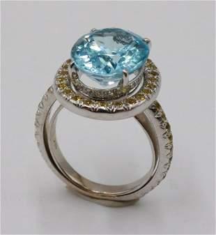 Laura Munder 18k White Gold Blue Topaz Ring