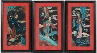 Three Chinese Reverse Painted Glass Pictures