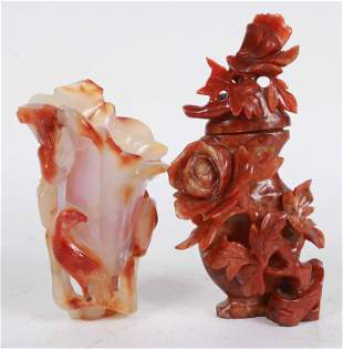 Two Chinese Carved Hardstone Vessels