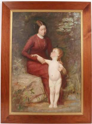 Oil on Canvas, Woman and Child, Henry O. Walker