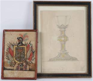 Watercolor on Paper, Family Crest, 17th/18th C.