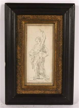 Old Master Pen and Ink and Paper, Portrait of Man