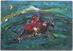 Oil on Canvas, Figure on Horseback, Robert Savary