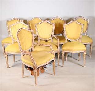 Eight Louis XVI Style Painted Dining Chairs