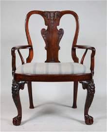 Rare George II Anglo-Chinese Huang Huali Armchair