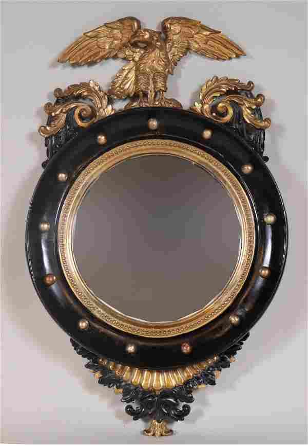 Regency Ebonized and Gilt Convex Mirror