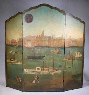 Painted Leather Three-Panel Screen