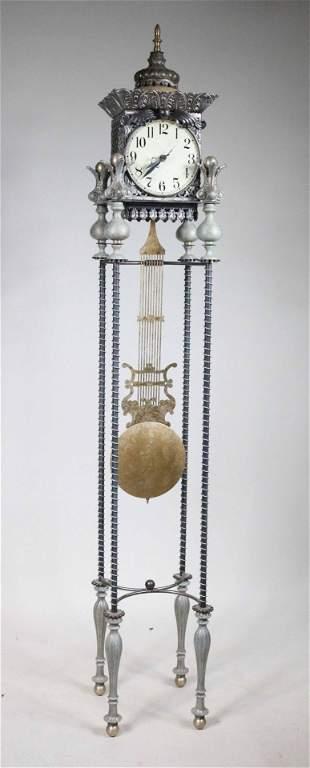 Contemporary Pierced Metal Tall Clock