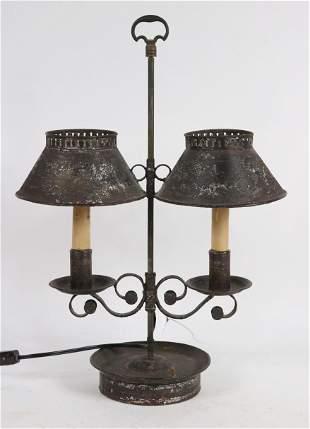 Black Painted Tole Double-Light Lamp