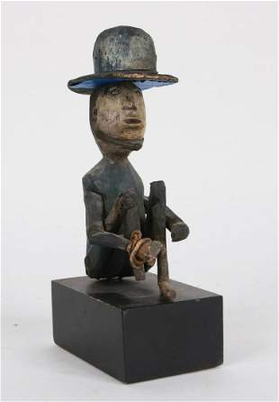 Folk Carved and Painted Pine Seated Man