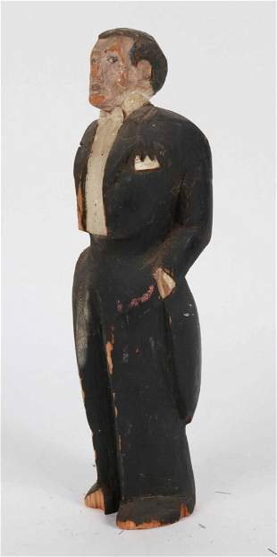 Carved and Painted Pine Figure of a Gentleman