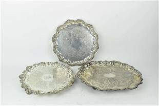 Three Footed Silverplate Serving Trays