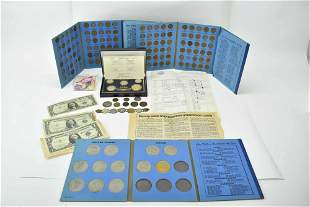 Group of Assorted Coins, Stamps & Paper Currency
