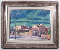 Howard Carr, Oil on Canvas, Indian Village Scene